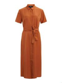 OBJECT maxi blousejurk met ceintuur bruin, Bruin