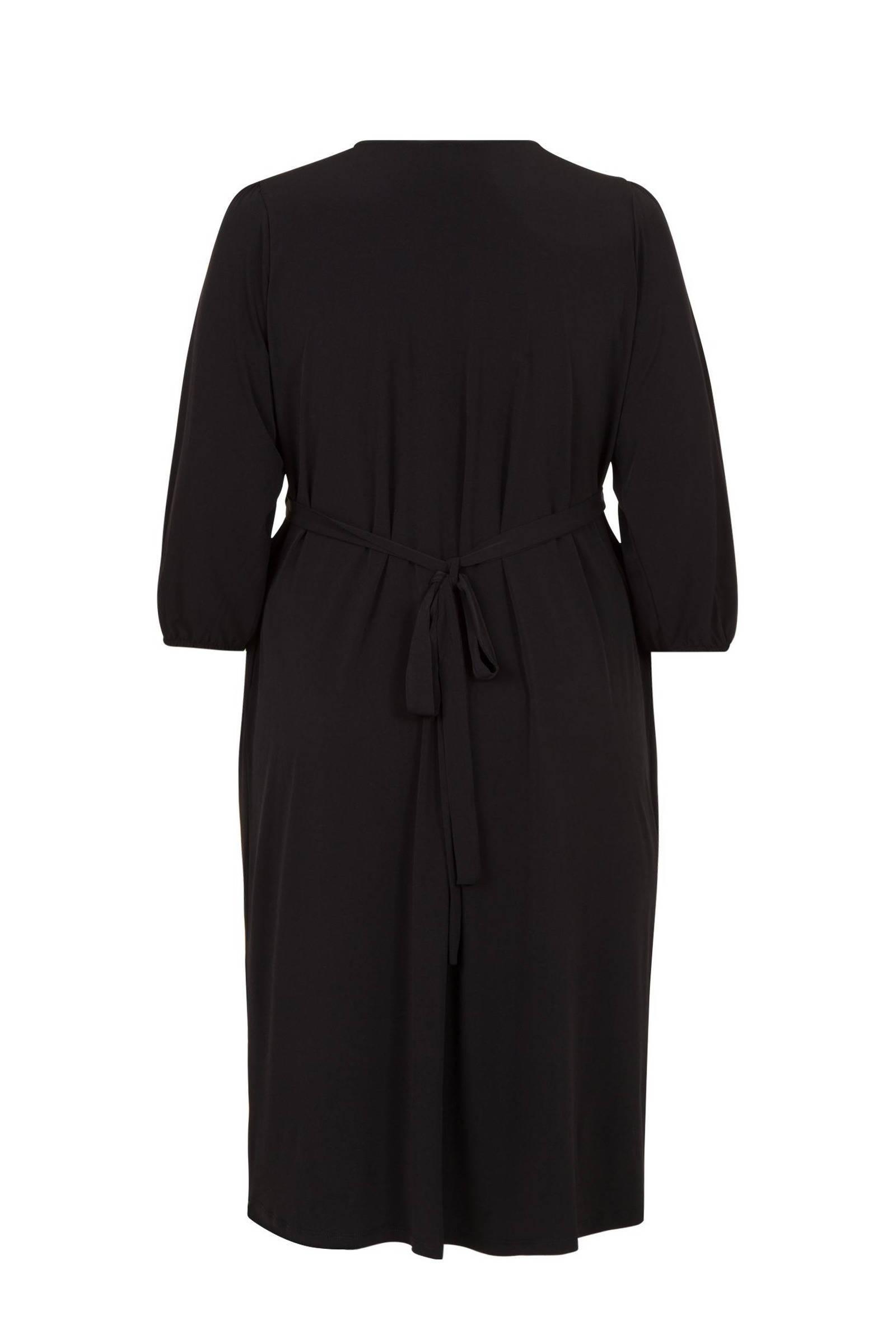 Miss Etam Plus jersey jurk en plooien zwart