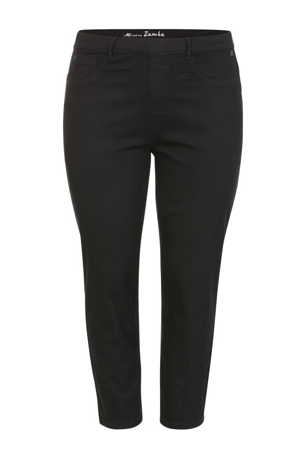 Miss Etam Plus slim fit broek zwart, Zwart