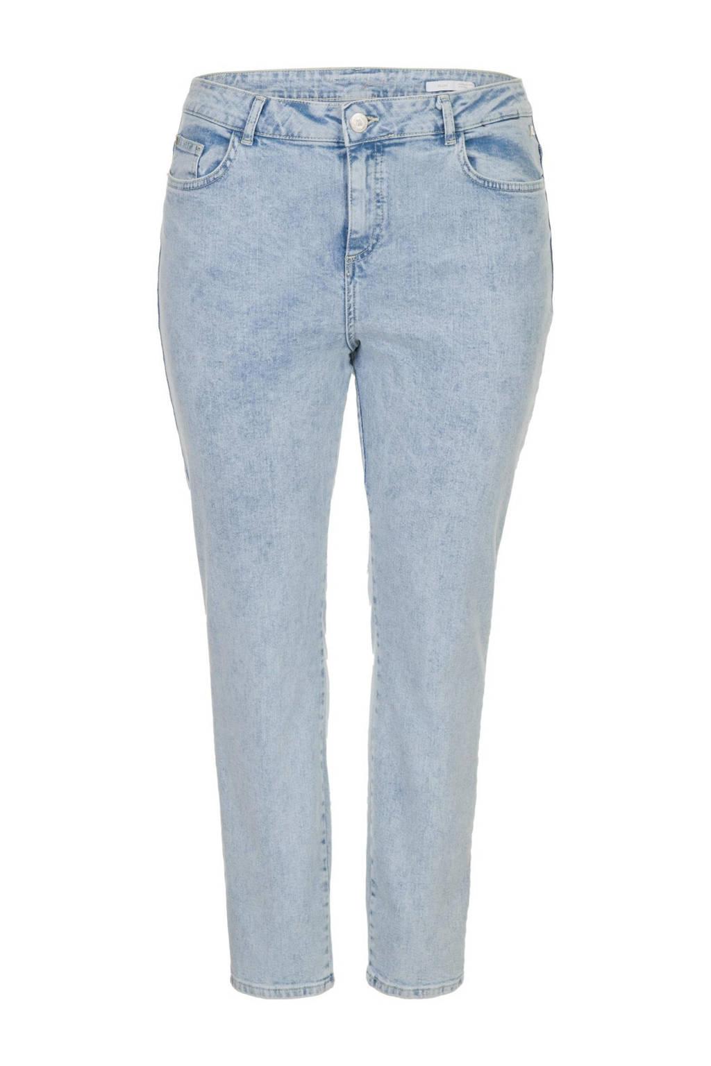 Miss Etam Plus high waist slim fit jeans Jackie 30 inch blauw, Blauw