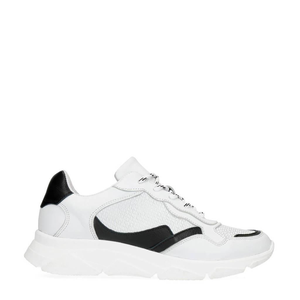 Manfield   leren sneakers wit/zwart, Wit/zwart