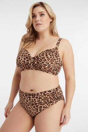 bikinibroekje met panterprint bruin/zwart