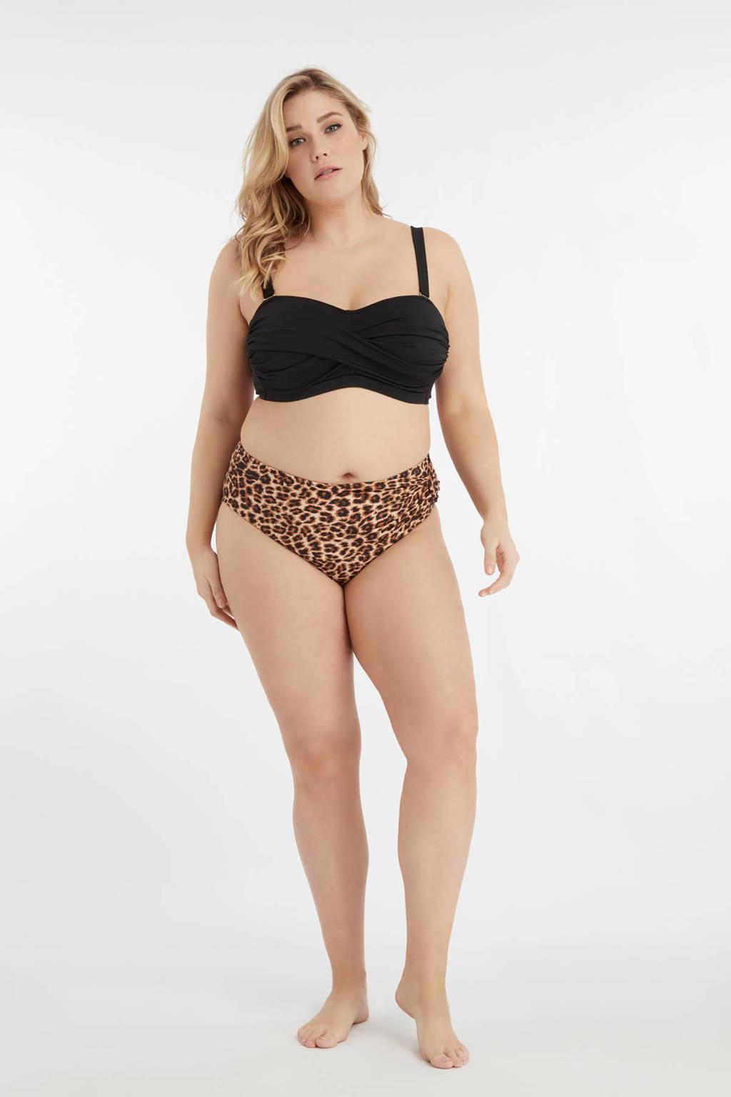 MS Mode bikinibroekje met panterprint bruin/zwart, Bruin/zwart