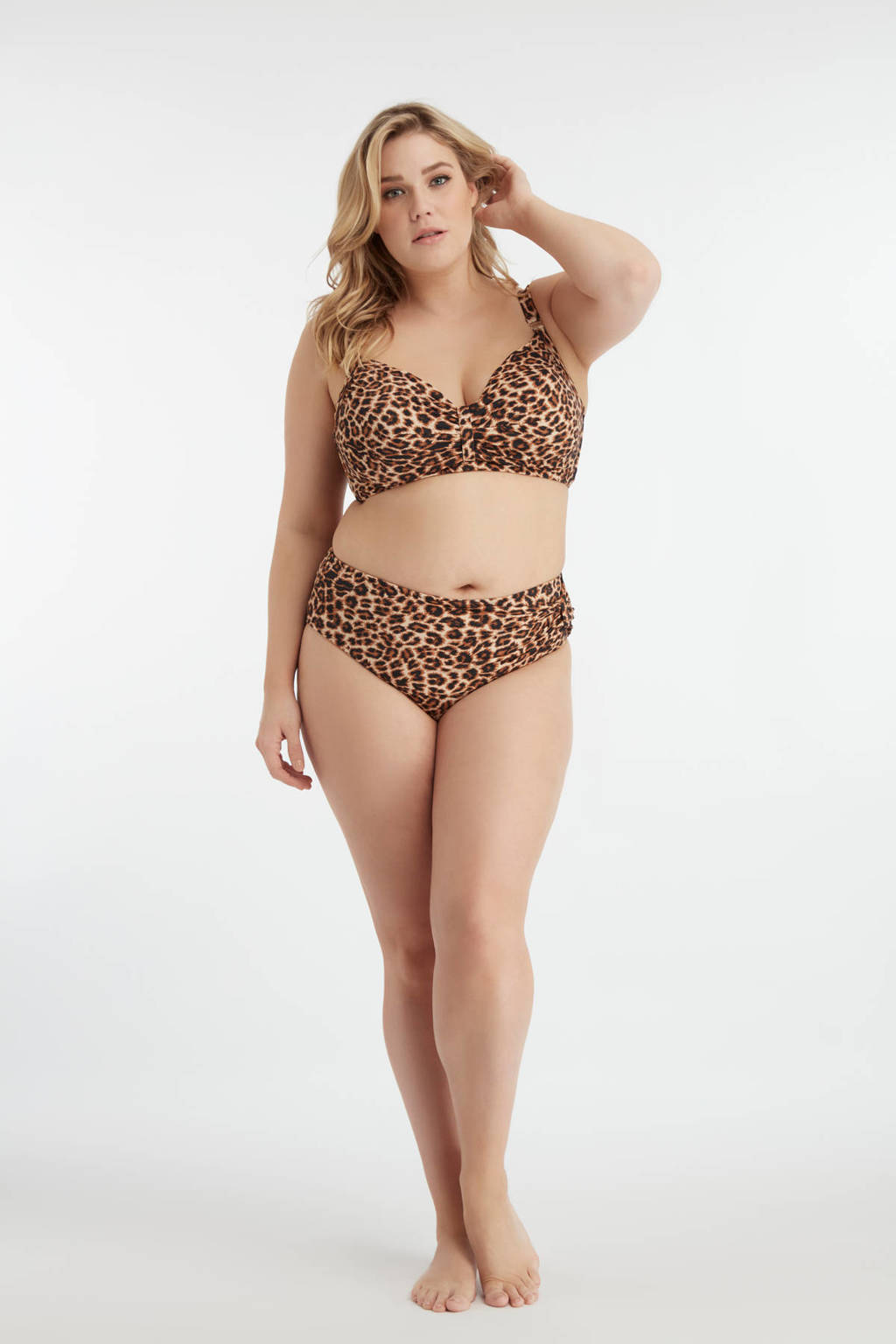 MS Mode beugel bikinitop met panterprint bruin/zwart, Bruin/zwart