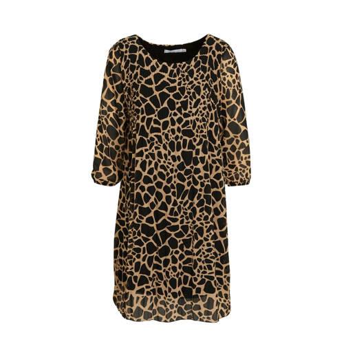 LOLALIZA jurk met all over print camel/zwart