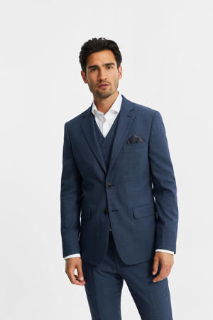 slim fit colbert met wol royal blue