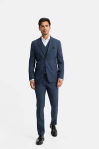 WE Fashion slim fit colbert met wol royal blue, Royal blue