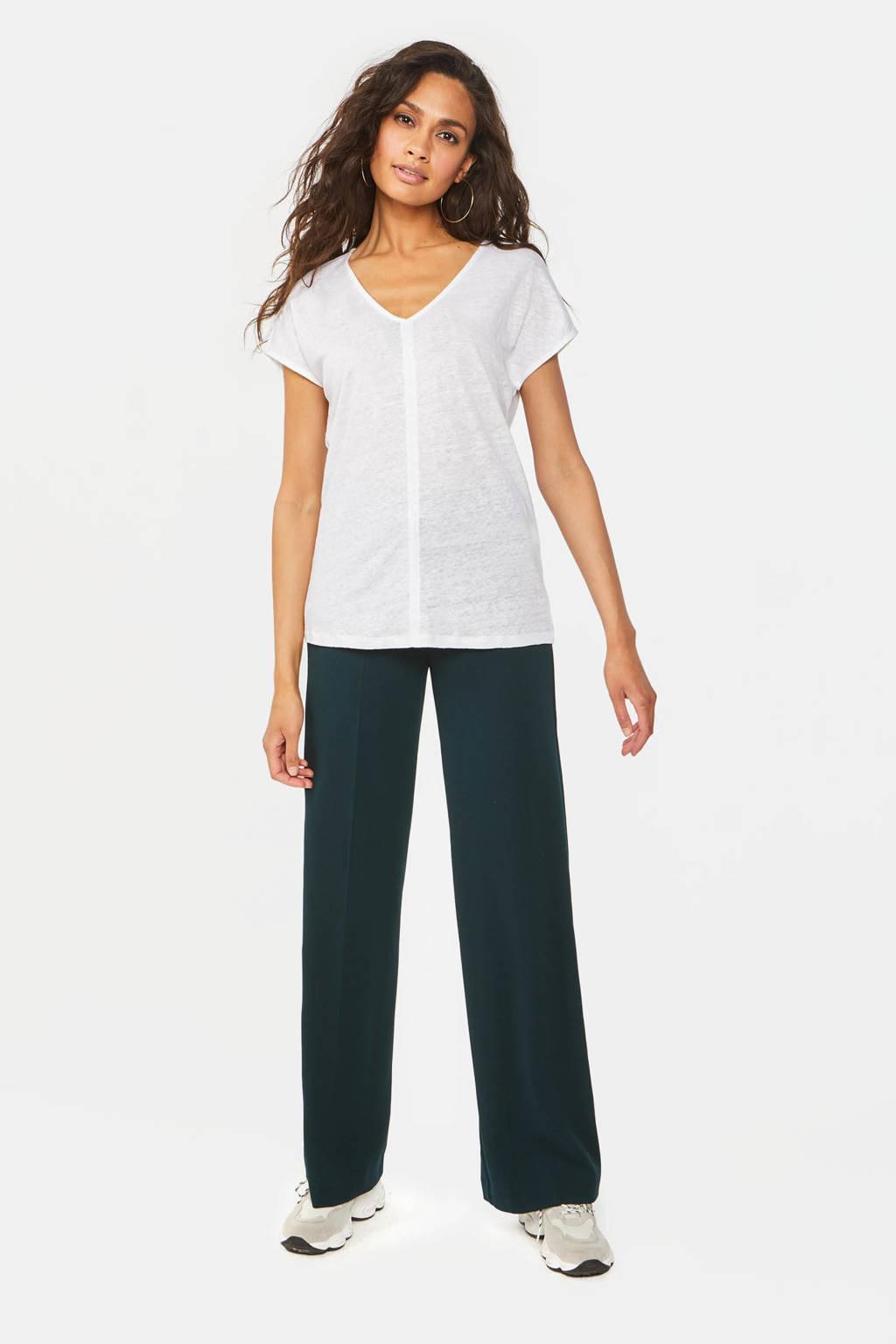 WE Fashion linnen T-shirt wit, Wit