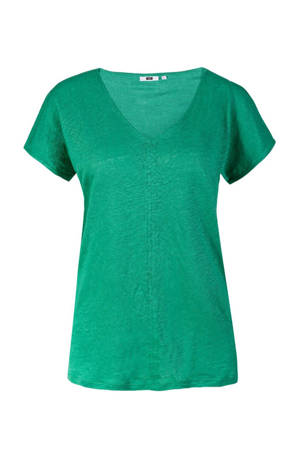 WE Fashion linnen T-shirt groen, Groen