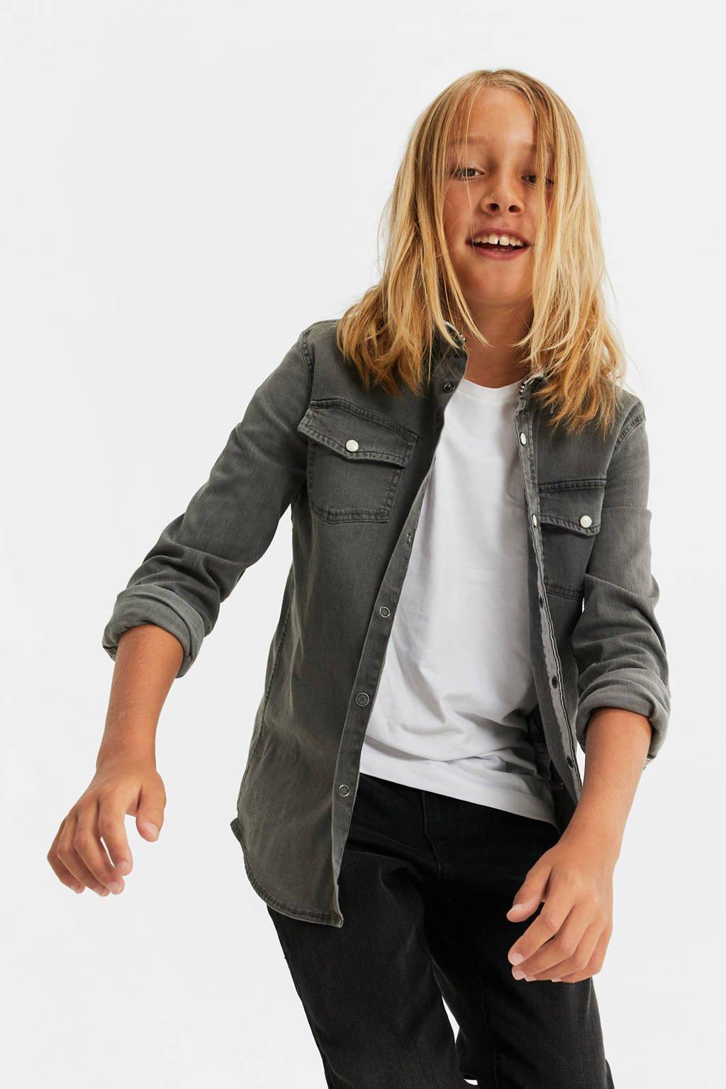 WE Fashion Blue Ridge regular fit denim overhemd grijs denim, Grijs denim