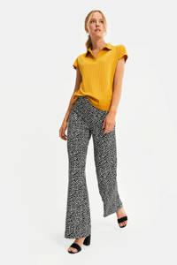 WE Fashion high waist loose fit broek met all over print zwart-wit, Zwart-Wit