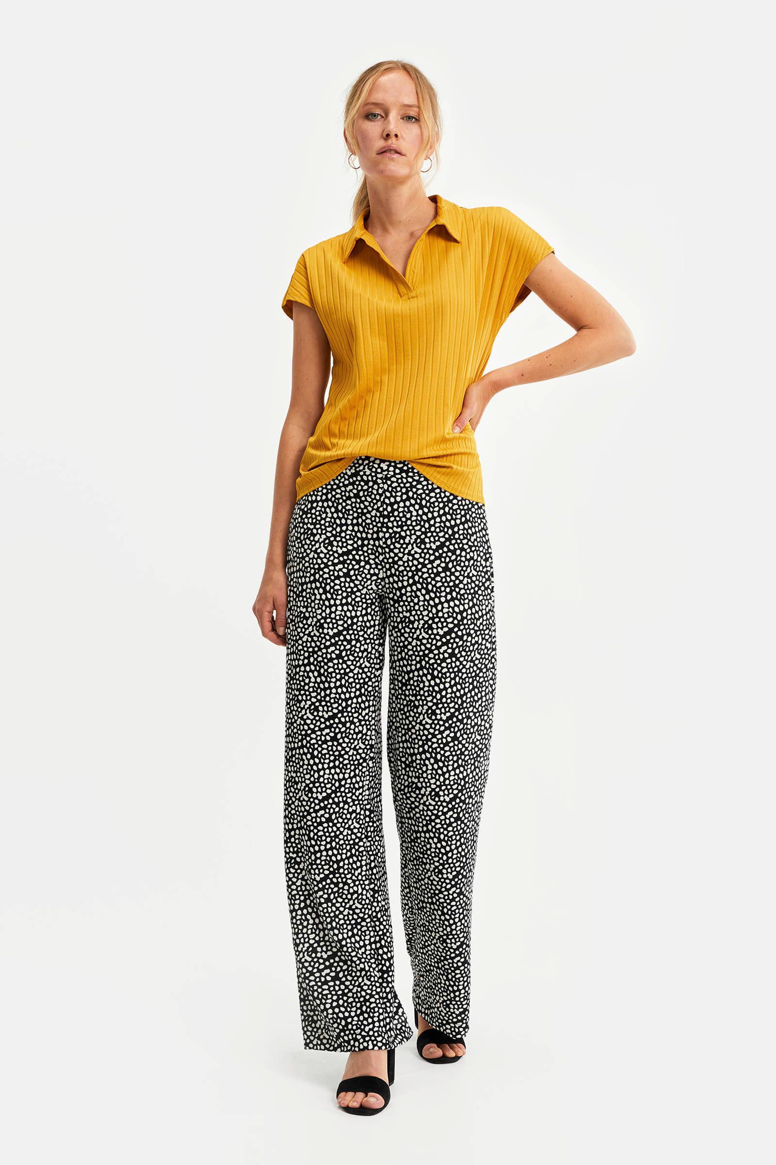 high waist loose fit broek met all over print zwart wit
