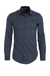 WE Fashion slim fit overhemd met all over print donkerblauw, Donkerblauw