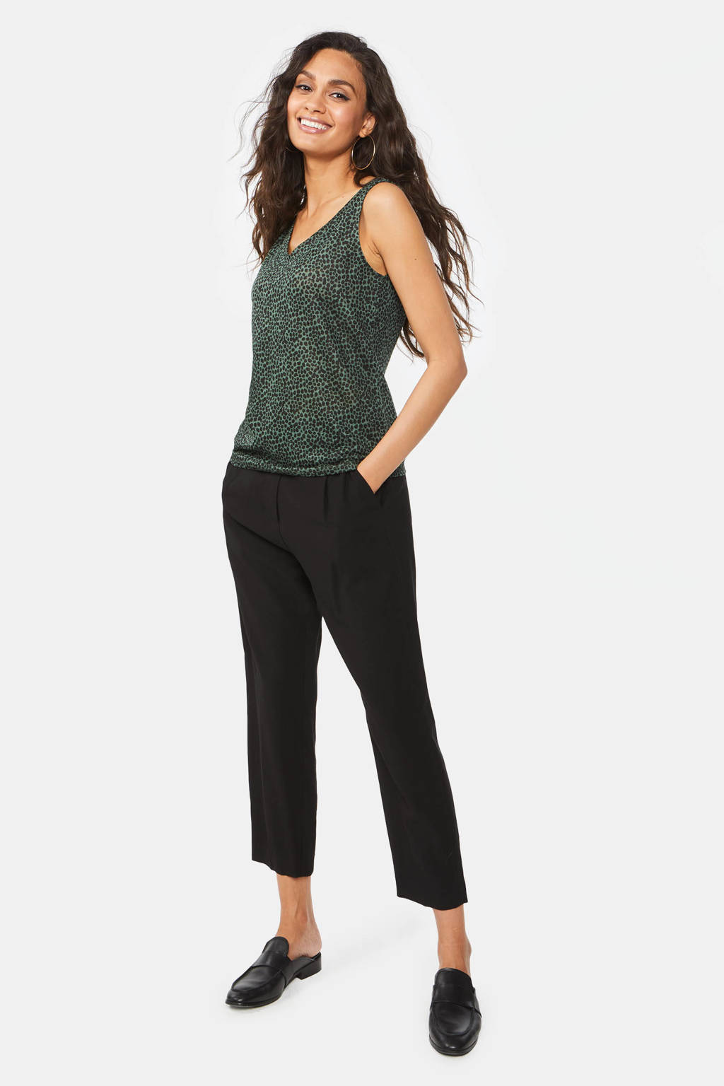WE Fashion linnen singlet met stippen groen/zwart, Groen/zwart