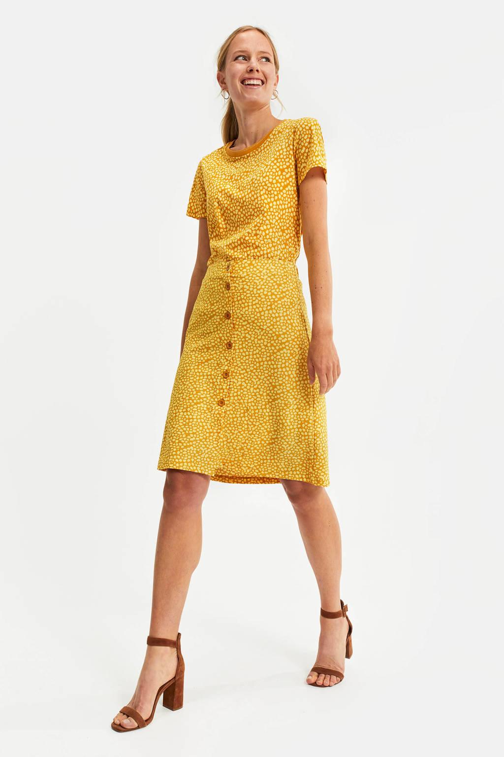 WE Fashion rok met all over print geel, Geel