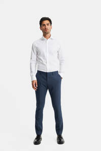 WE Fashion slim fit pantalon met wol royal blue, Royal blue