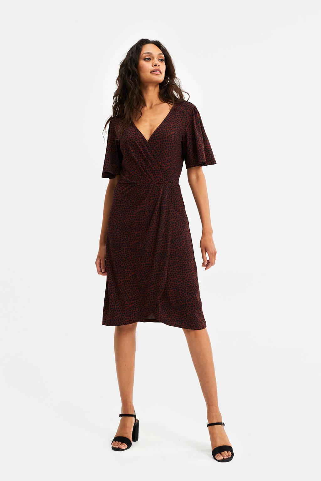 WE Fashion jurk met all over print donkerrood/zwart, Donkerrood/zwart