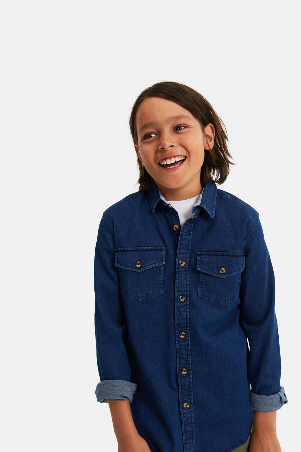 WE Fashion Blue Ridge regular fit denim overhemd blauw denim, Blauw denim