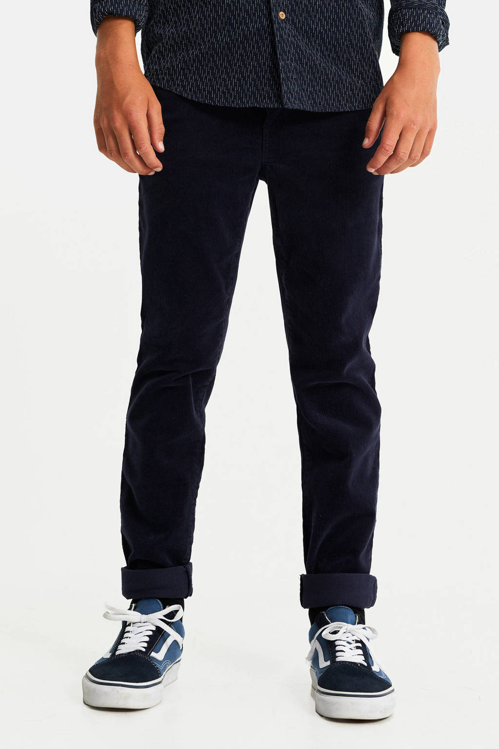 WE Fashion Blue Ridge corduroy slim fit broek donkerblauw, Donkerblauw