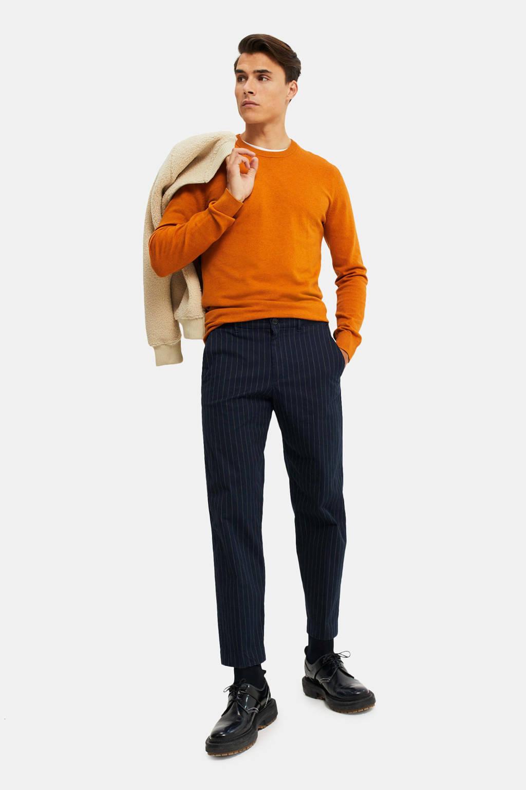WE Fashion straight fit chino met krijtstreep donkerblauw, Donkerblauw