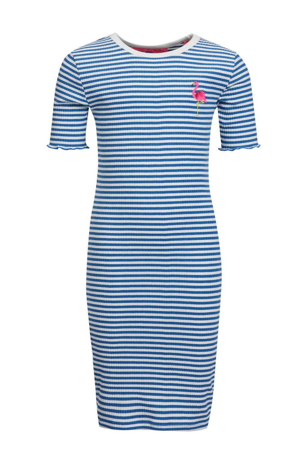 WE Fashion skinny fit jurk blauw/wit, Blauw/wit