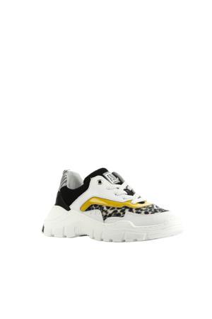 13260  leren chunky sneakers wit/panterprint