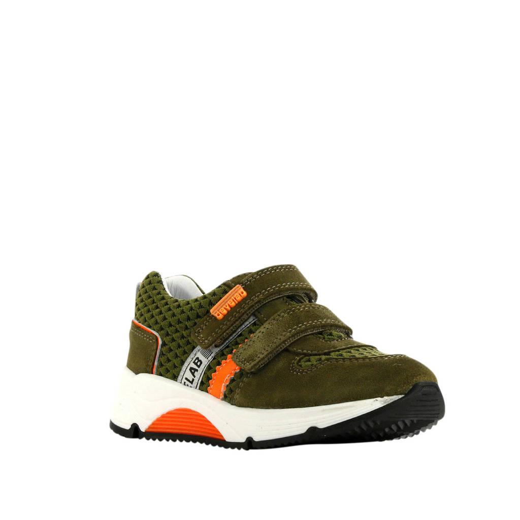 Develab 41403  sneakers groen, Groen/oranje