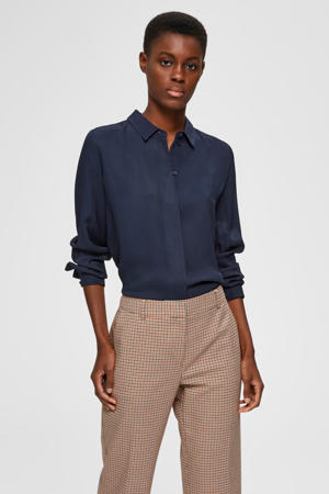 geweven blouse met textuur donkerblauw