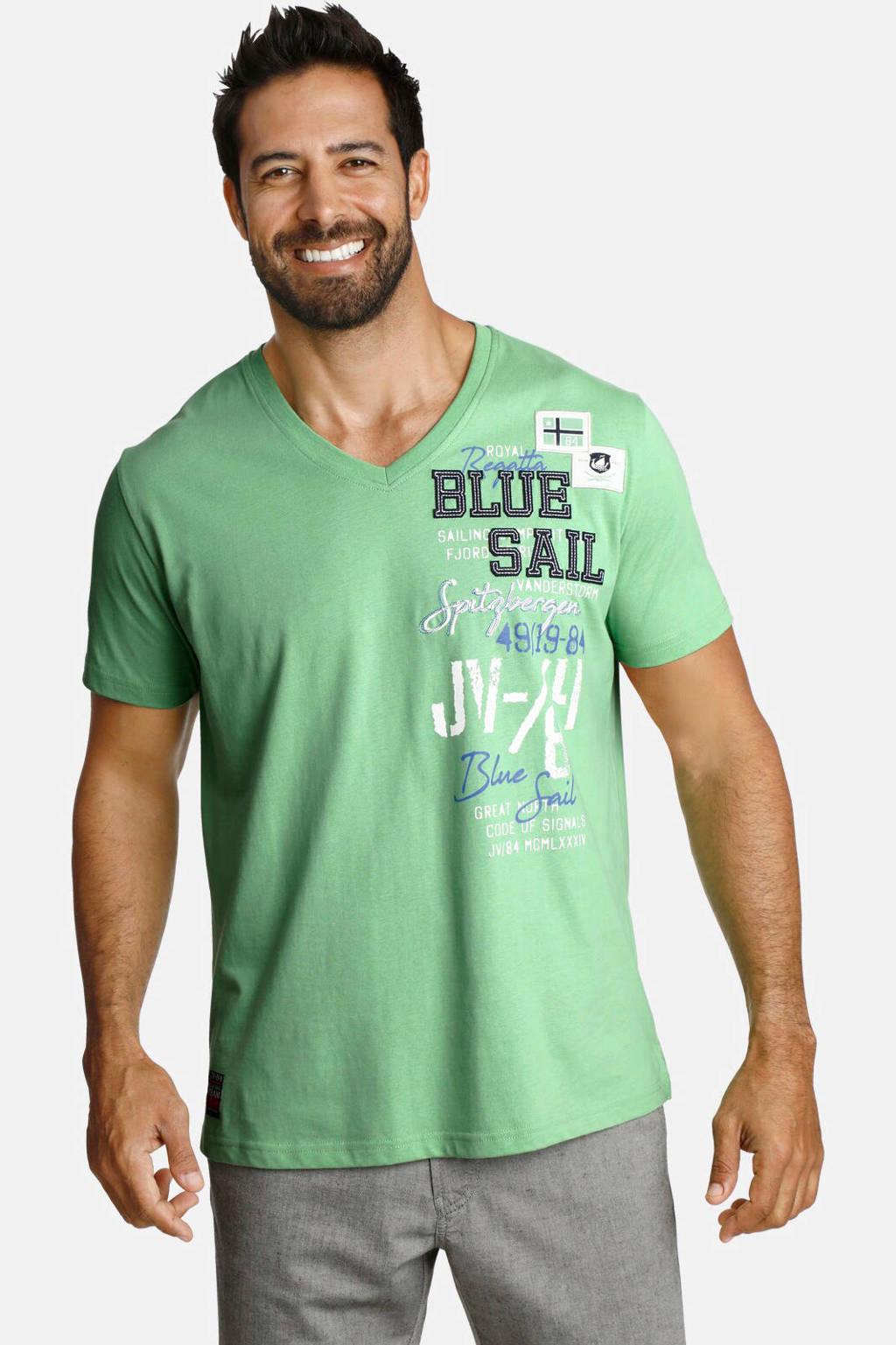 Jan Vanderstorm T-shirt Plus Size Kolbjorn met printopdruk lichtgroen, Lichtgroen