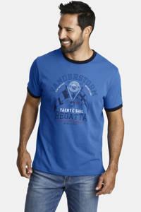 Jan Vanderstorm T-shirt Plus Size Rael met contrastbies blauw, Blauw