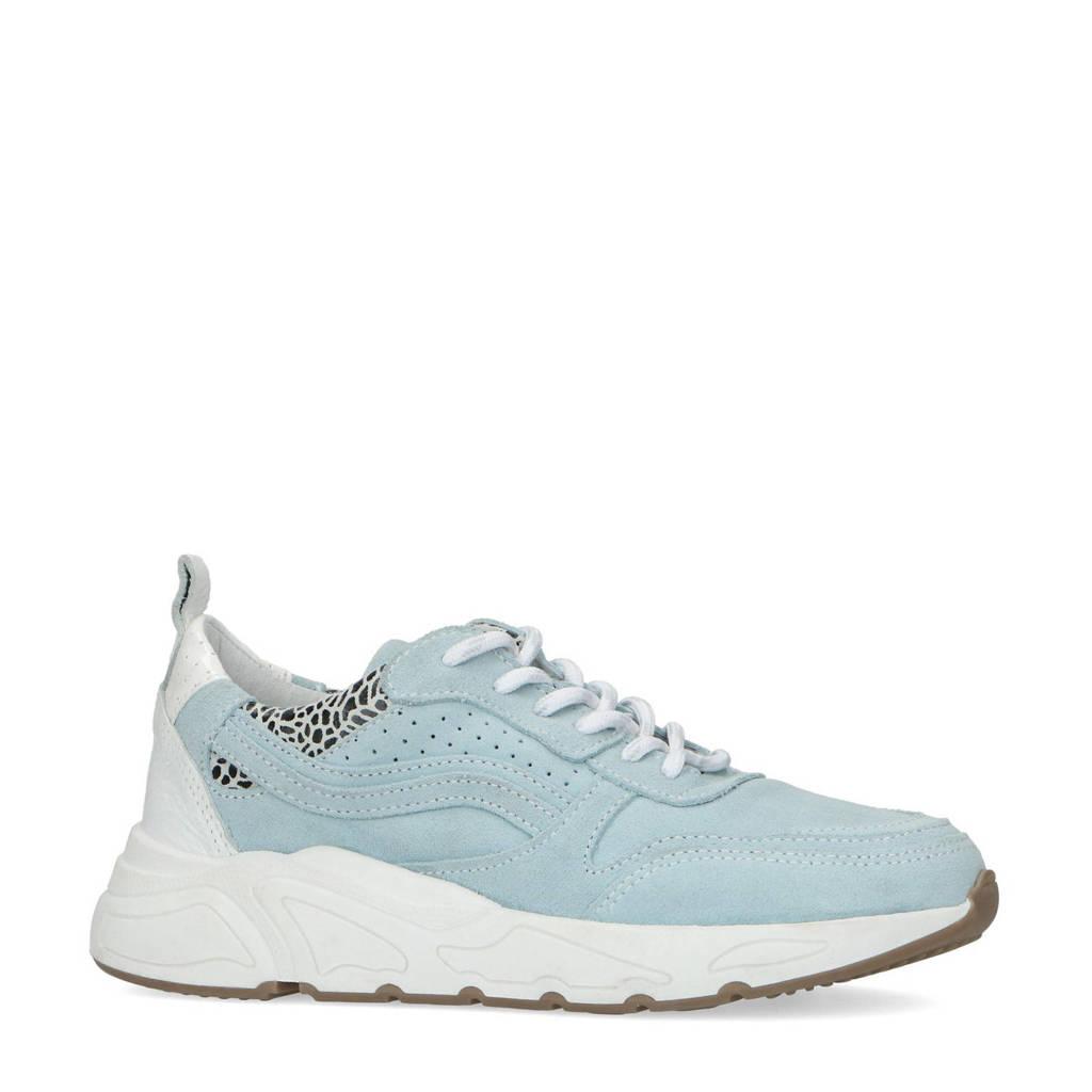 Manfield   suède dad sneakers lichtblauw, Lichtblauw