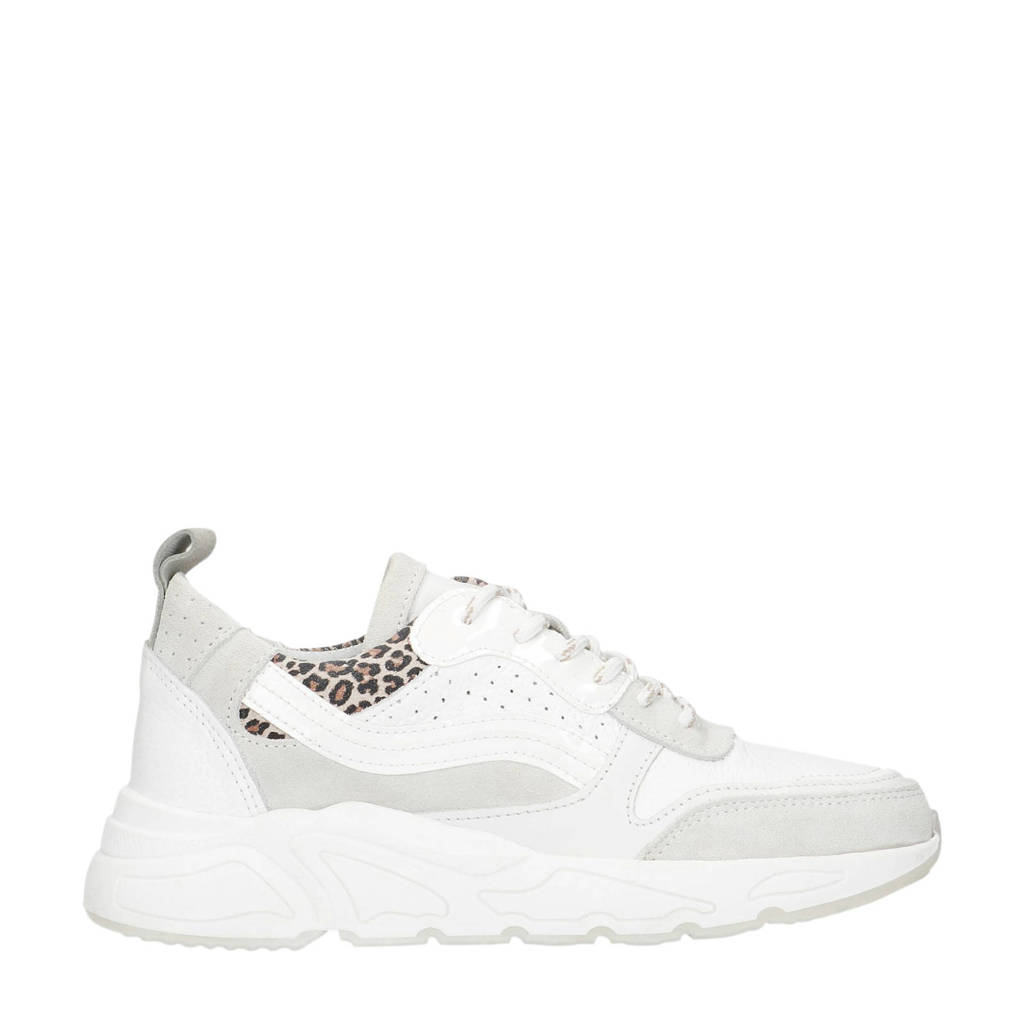 Manfield   suède dad sneakers wit, Wit/Off white