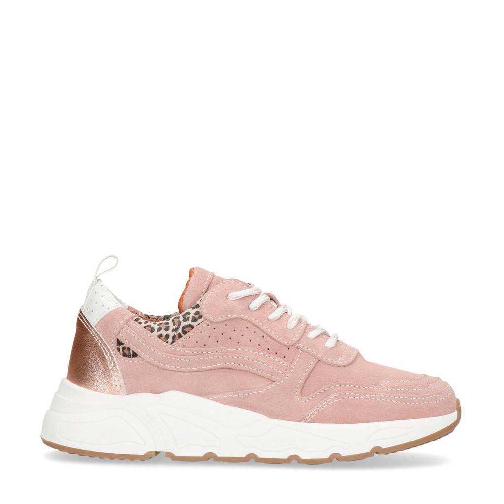 Manfield   suède dad sneakers roze, Oudroze/lichtroze
