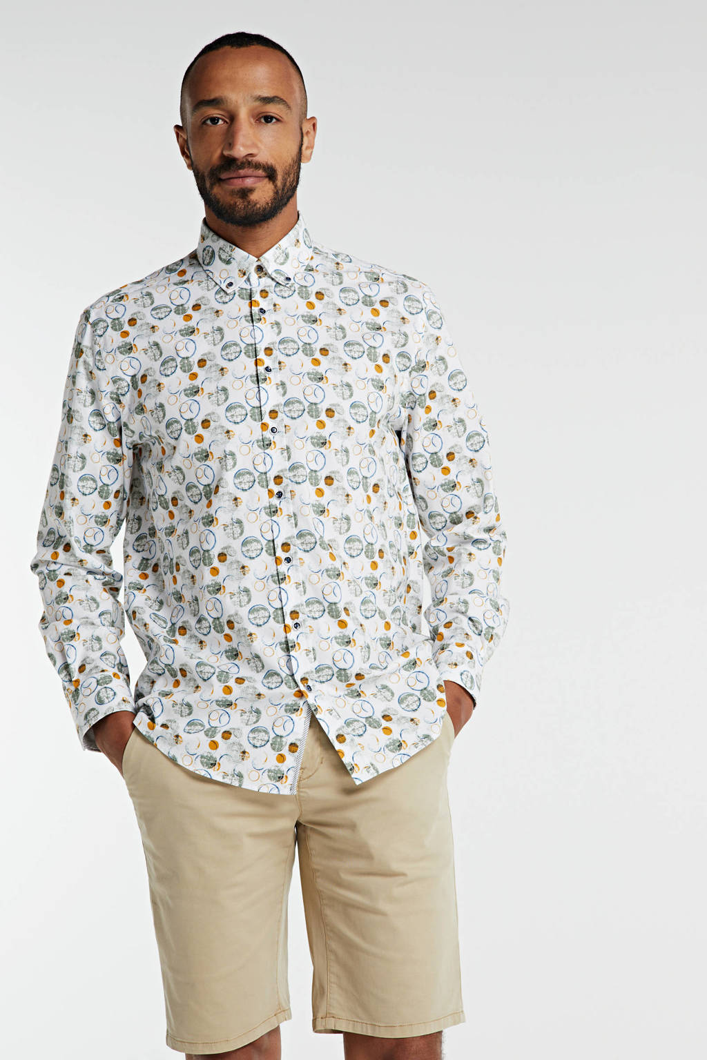 State of Art regular fit overhemd met all over print wit, Wit