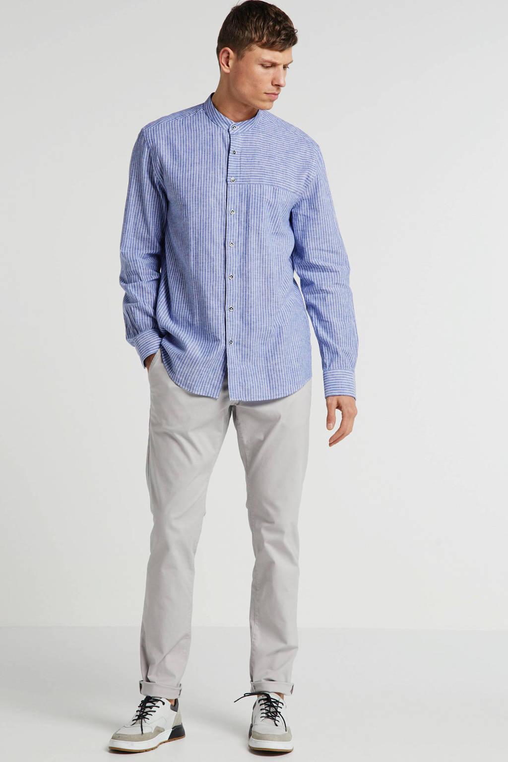 State of Art slim fit overhemd met linnen lavendel, Lavendel