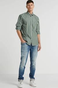 State of Art gestreept regular fit overhemd groen/wit, Groen/wit