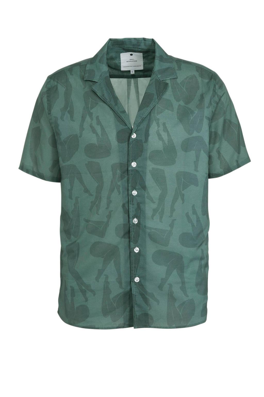 RVLT REVOLUTION regular fit overhemd met all over print groen, Groen