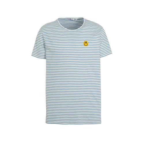 RVLT gestreept T-shirt lichtblauw/wot