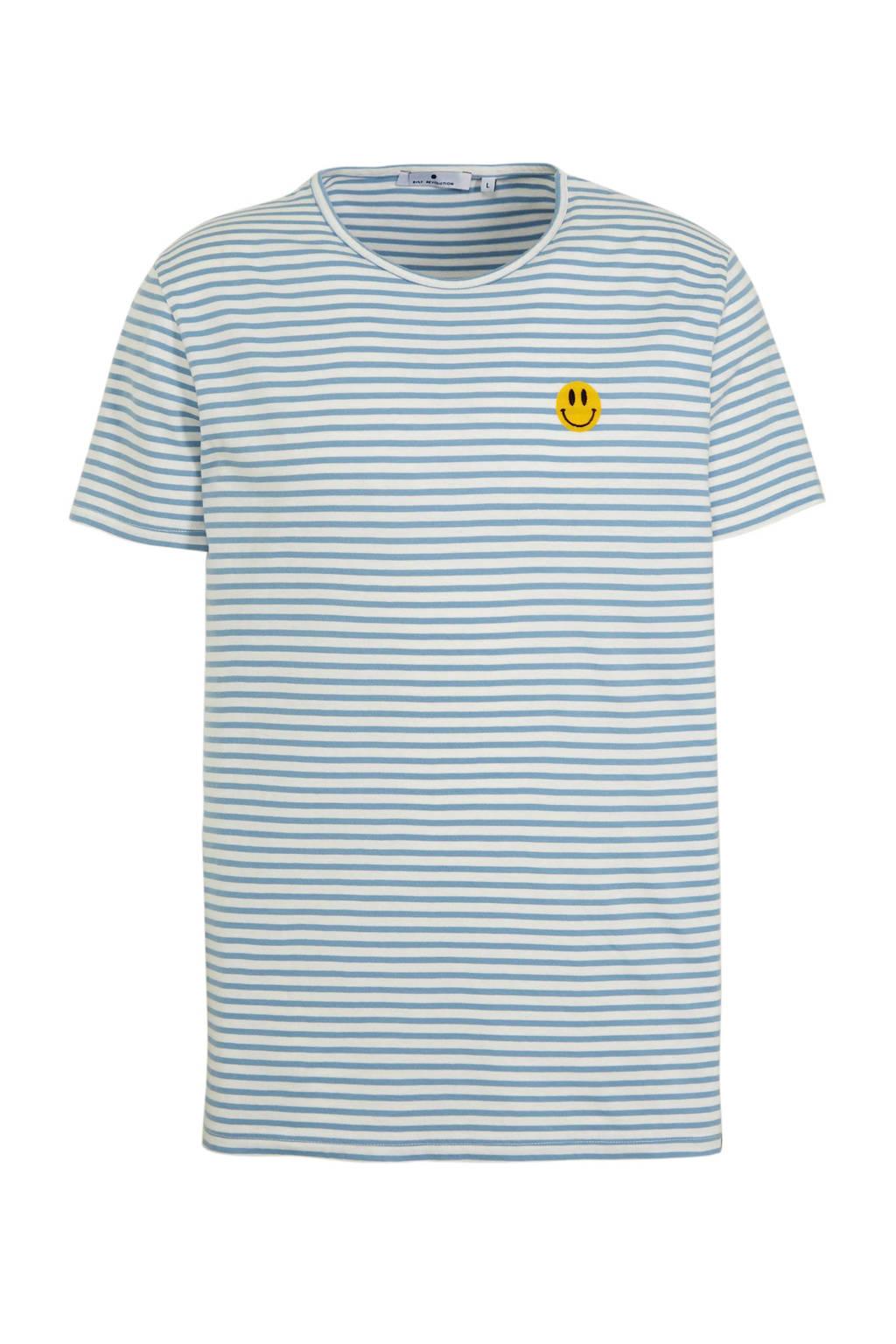 RVLT gestreept T-shirt lichtblauw/wot, Lichtblauw/wot
