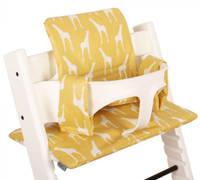 Ukje geplastificeerde kussenset voor kinderstoel Stokke Tripp Trapp giraffenprint geel, Geel