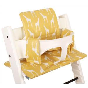 geplastificeerde kussenset voor kinderstoel Stokke Tripp Trapp giraffenprint geel