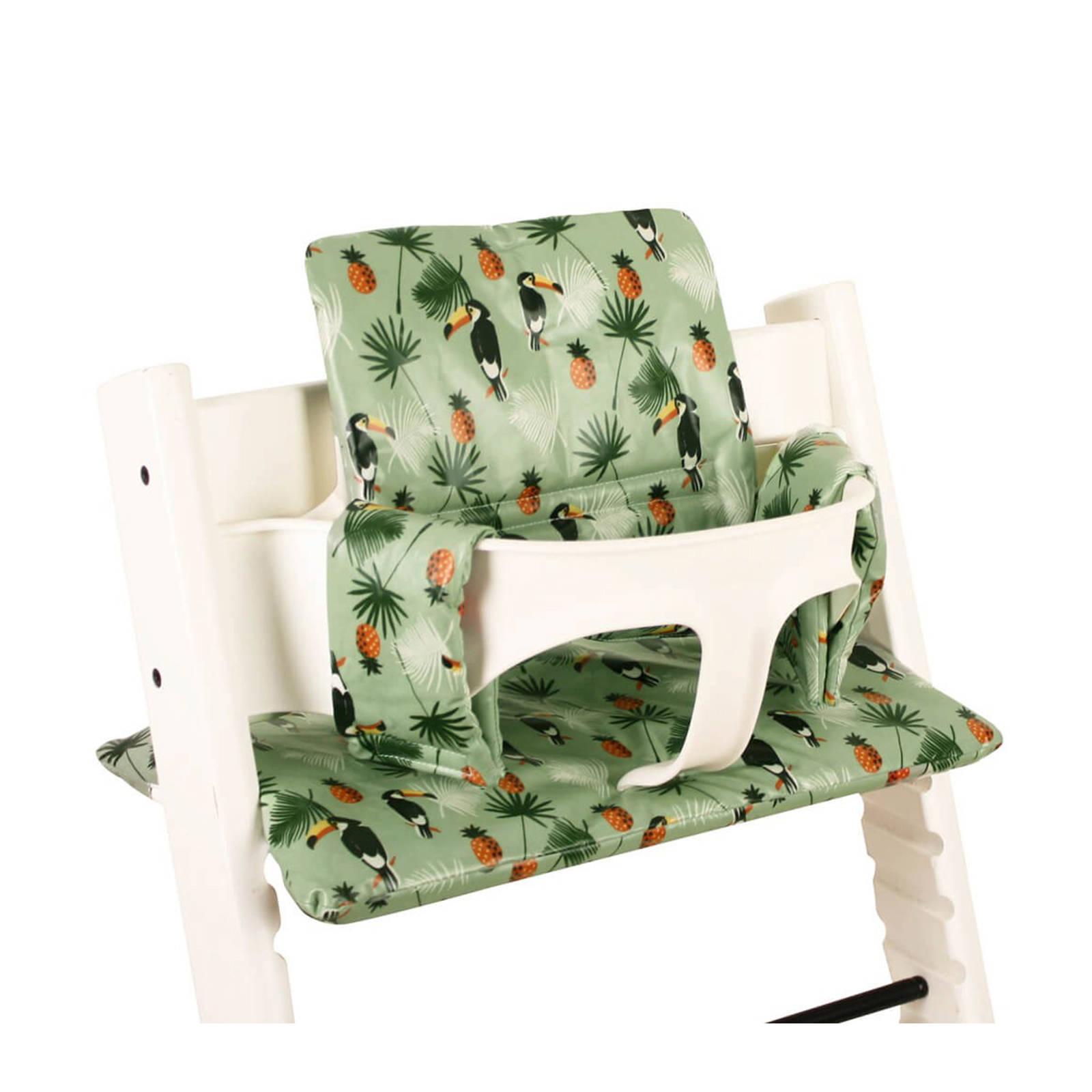 geplastificeerde kussenset voor kinderstoel Stokke Tripp Trapp toekanprint groen