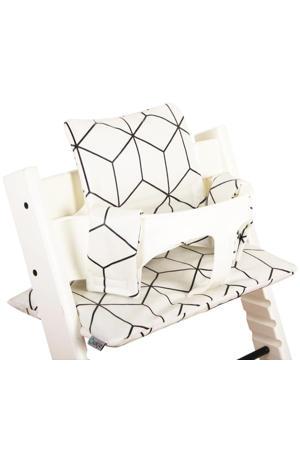 geplastificeerde kussenset voor kinderstoel Stokke Tripp Trapp ruitenprint wit/zwart