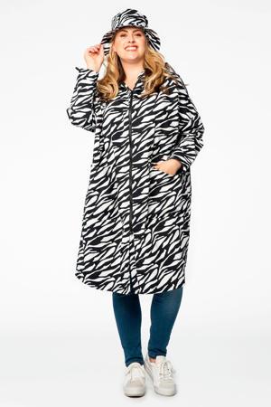 regenjas Pam met zebraprint zwart/wit