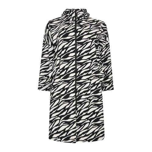 Yoek regenjas Pam met zebraprint zwart/wit