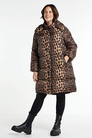 gewatteerde winterjas met panterprint bruin/zwart