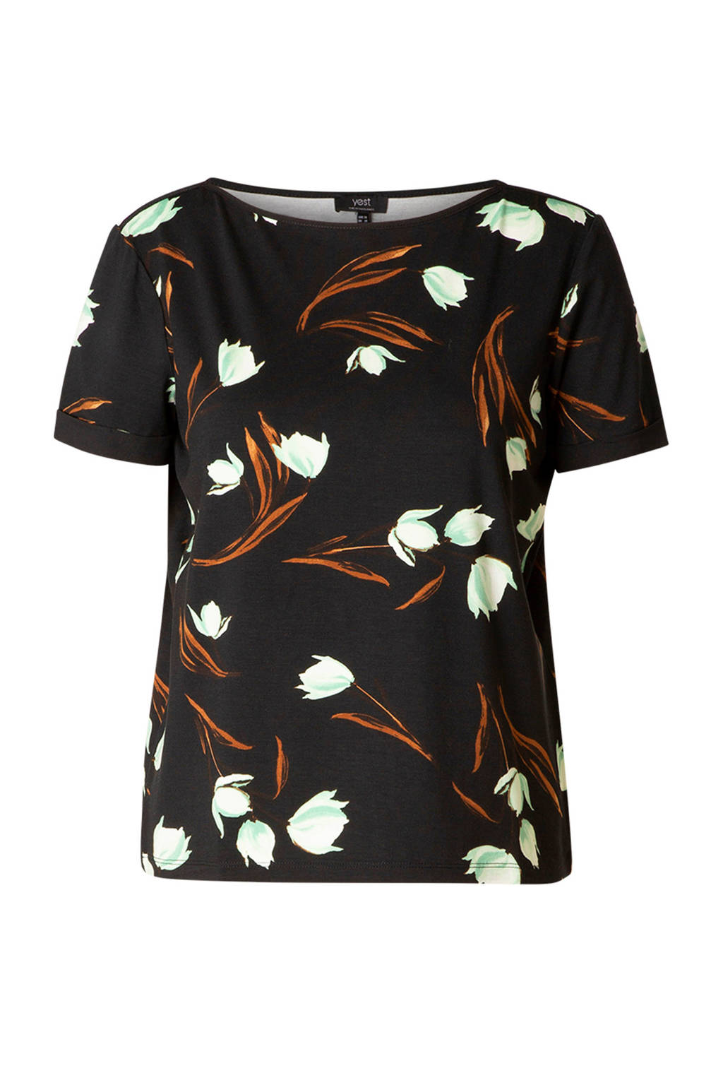 Yesta T-shirt met all over print zwart/wit/oranje, Zwart/wit/oranje