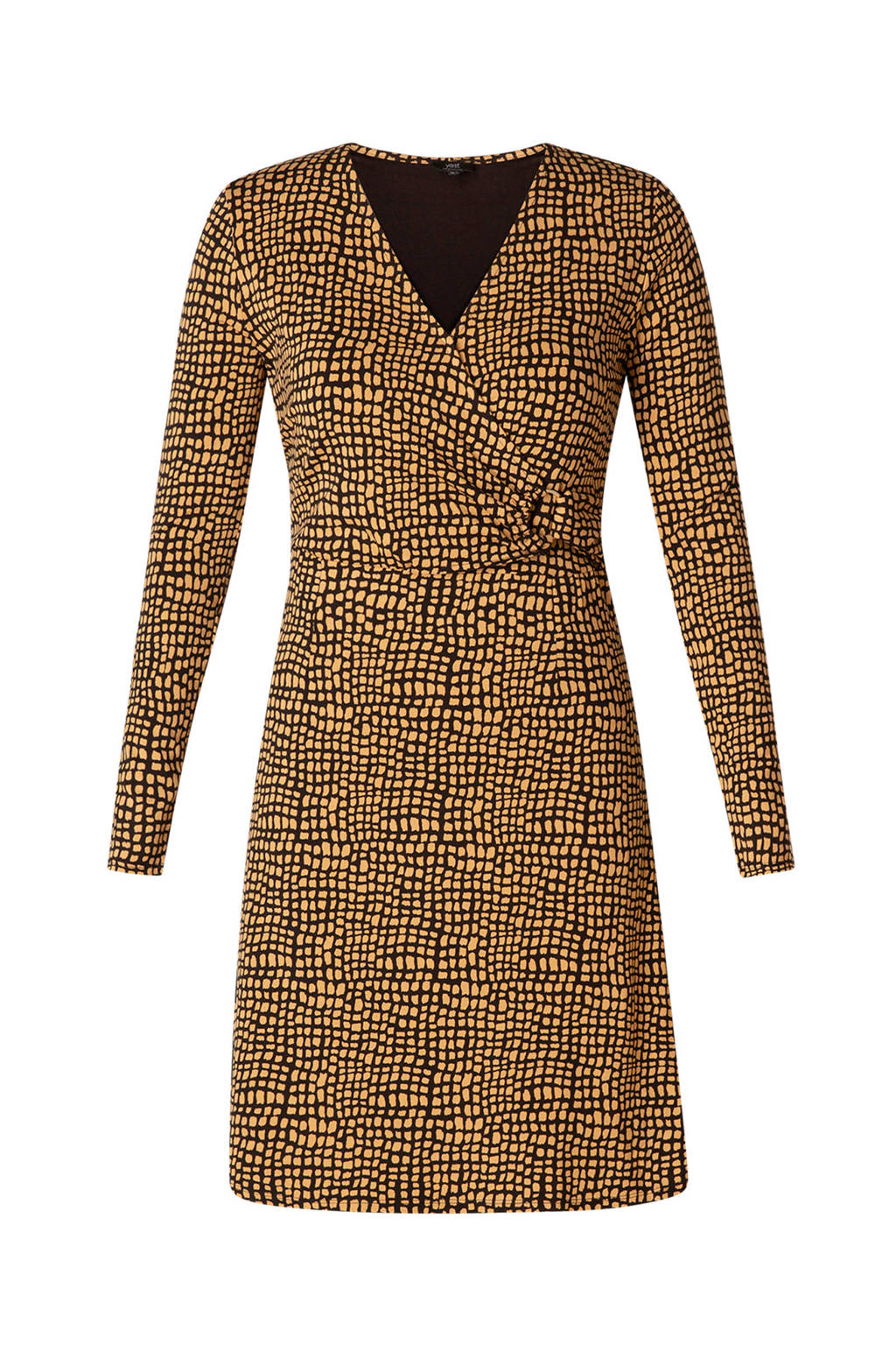 Yesta A-lijn jurk met all over print zwart/camel, Zwart/camel