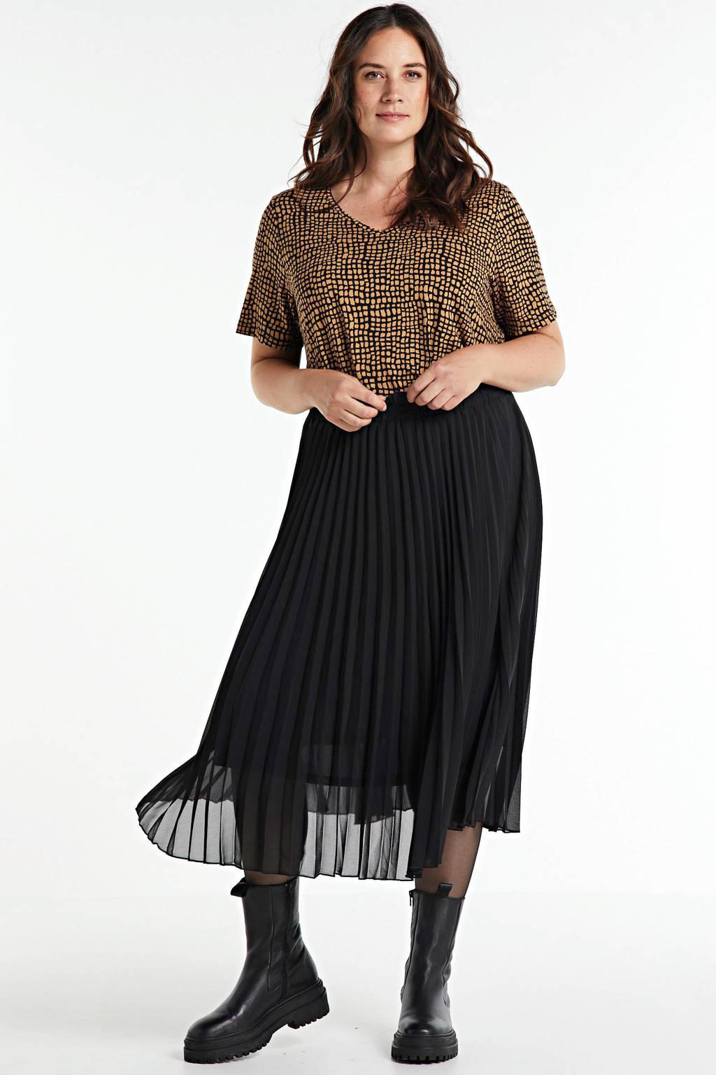 Yesta T-shirt Alba Essential met all over print zwart/camel, Zwart/camel