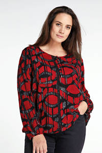 Yesta semi-transparante top met all over print rood/zwart/wit, Rood/zwart/wit